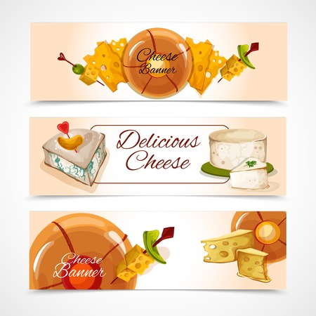 assortment: Natural delicious cheese food assortment colored decorative horizontal banners set isolated vector illustration