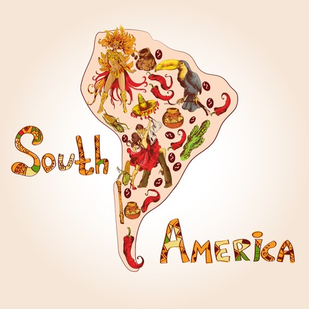 South america colored sketch concept with continent shape and travel symbols vector illustration. Vector