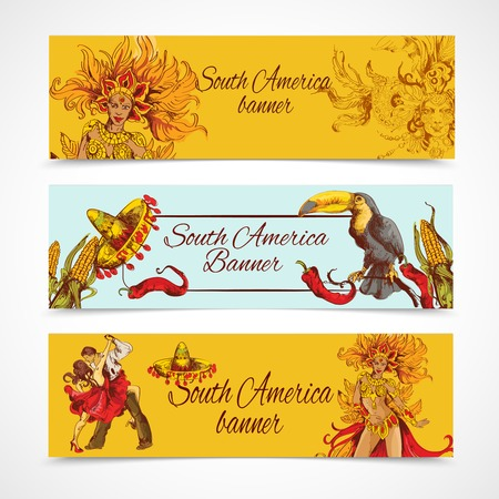 South america colored hand drawn banners set with travel symbols isolated vector illustration Vector
