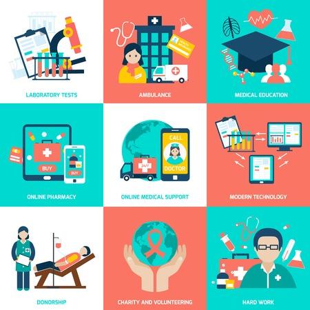 Medische concepten set met laboratoriumtests ambulance onderwijs online apotheek geïsoleerde vector illustratie
