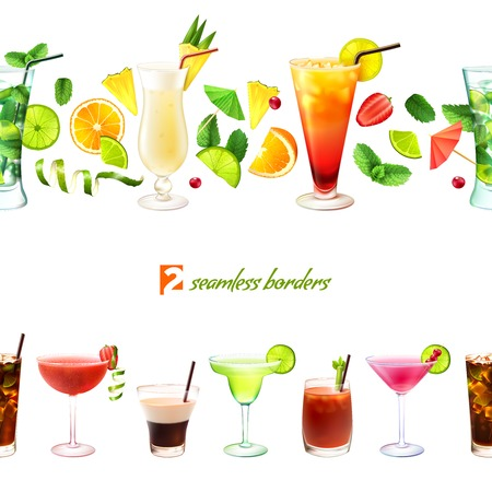 Cocktail seamless border with drinks in glasses and decoration vector illustration