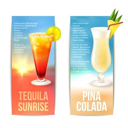 Tequila sunrise pina colada cocktails vertical banner set isolated vector illustration