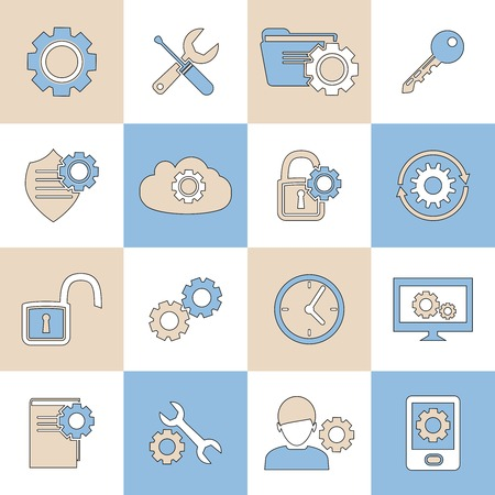 trackpad: Mobile phone computer account settings synchronize flat line icons set isolated vector illustration