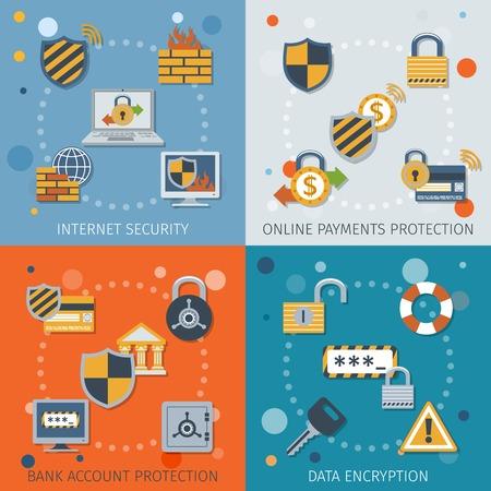 bankkonto: Sicherheitsflach Icons mit Internet-Online-Zahlung Schutz Kontodatenverschl�sselung isolierten Vektor-Illustration gesetzt