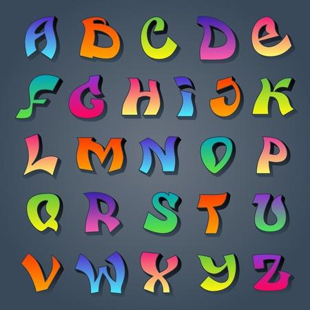 alphabet graffiti: Alfabeto Graffiti fredda street style disegno font grunge calligrafia colorato illustrazione vettoriale