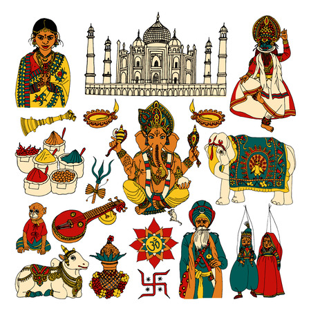 kalasha: India travel traditional culture decorative colored sketch icons set with taj mahal spices cow isolated vector illustration