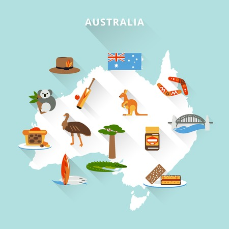 sydney: Australia tourist map concept with travel food sport nature icons vector illustration Illustration