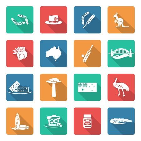adansonia: Australia travel icons white set with boomerang kangaroo koala crocodile isolated vector illustration