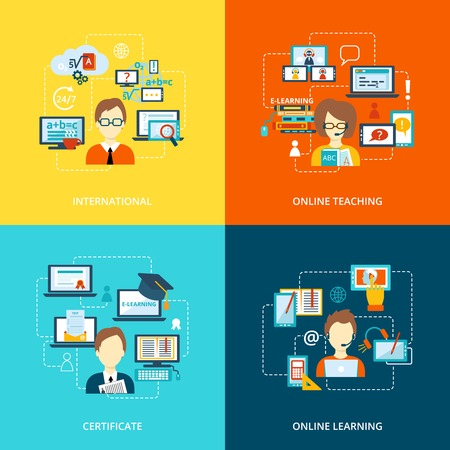 computer instruction: E-learning flat icons set with international online teaching certificate learning vector illustration
