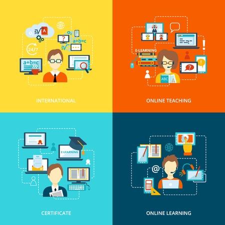 enseñanza: E-learning iconos planos establece con certificado de enseñanza ilustración internacional vector de aprendizaje en línea