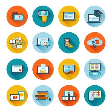 Online education e-learning university webinar student seminar graduation flat icons set vector illustration Illustration