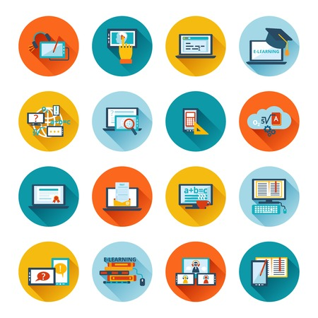 computer training: Online education e-learning university webinar student seminar graduation flat icons set vector illustration Illustration
