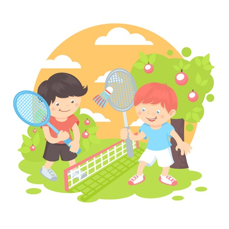 badminton: Boys kids with sport racquets playing badminton on the lawn outdoors background vector illustration Illustration