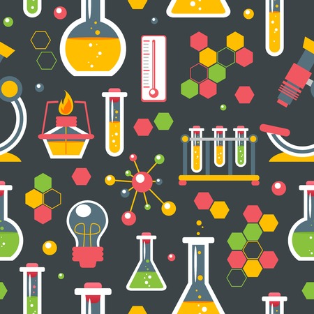 school class: Chemistry colored seamless pattern with scientific research glassware equipment vector illustration