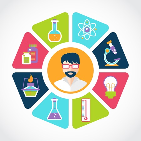 laboratory equipment: Chemistry flat concept with lab research equipment and scientist in the middle vector illustration