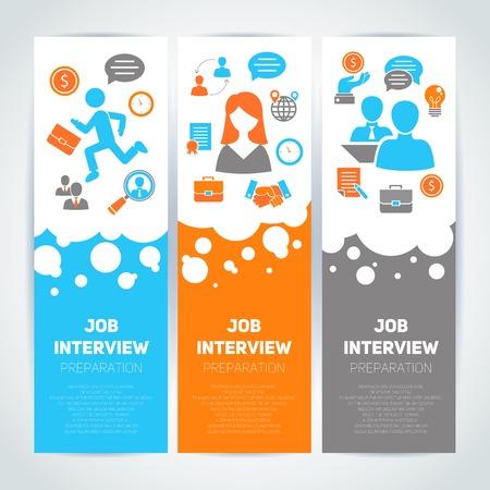 Preparación de la entrevista de empleo bandera plana conjunto vertical con la búsqueda cv reunión contratación ilustración vectorial aislado Foto de archivo - 34247582