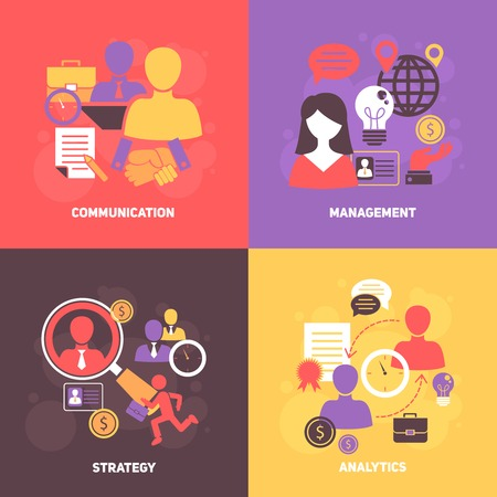 human abstract: Job interview flat icons set with communication management strategy analytics isolated vector illustration