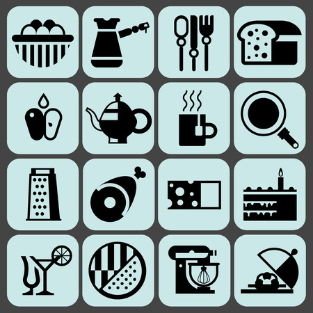 turk: Cooking food black icons set with eggs turk cutlery bread isolated vector illustration