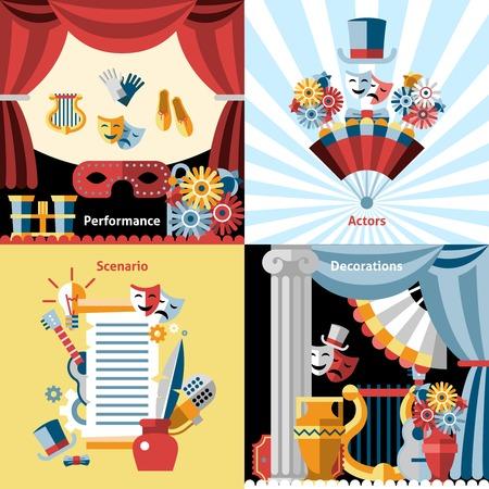Theatre flat icon set with performance actors scenario decorations isolated vector illustration