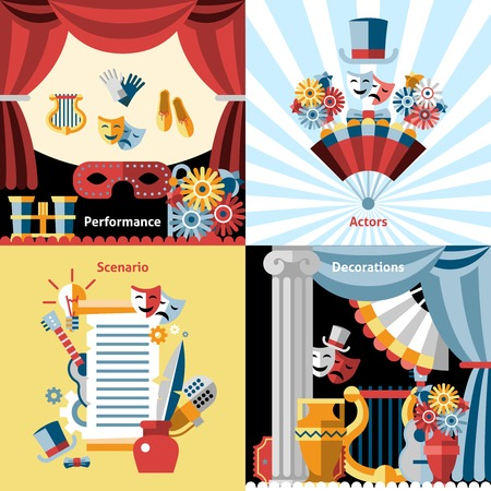 Theatre flat icon set with performance actors scenario decorations isolated vector illustration
