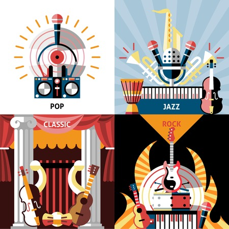 Musical instruments flat icons set with pop jazz classic rock isolated vector illustration. Vector