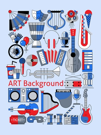 musical theater: Art flat line set with musical instruments theater tickets and decoration vector illustration. Illustration
