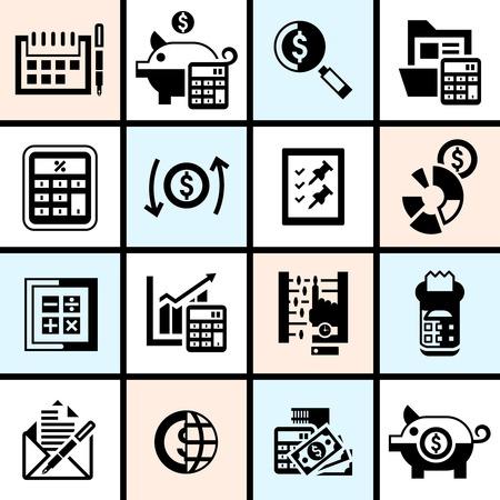 veiling: Boekhouding geld financiën bankwezen begroting investering veiling zwarte pictogrammen instellen geïsoleerde vector illustratie.