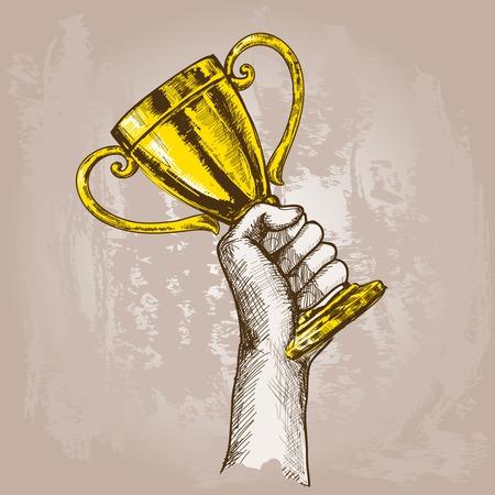 황금 챔피언 컵 트로피 스케치 벡터 일러스트 레이 션을 들고 인간의 손에 일러스트