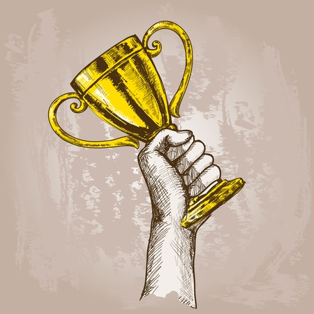 trophy: Human hand holding golden champion cup trophy sketch vector illustration