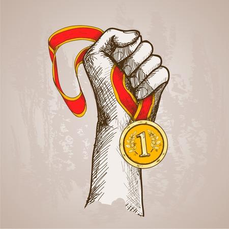 Mano que sostiene el oro medalla de campeón del ganador del premio recompensa ilustración dibujo vectorial Foto de archivo - 34249022