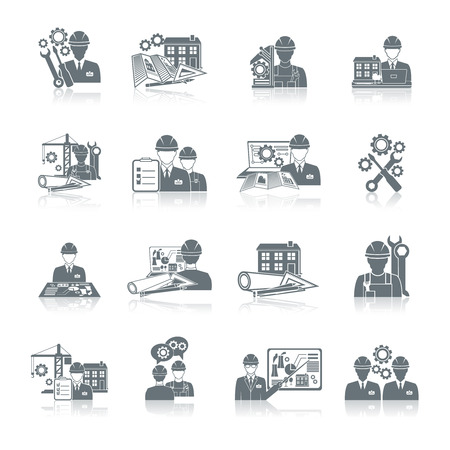 manufacturing occupation: Engineer construction equipment machine operator production and manufacturing icons black set isolated vector illustration.