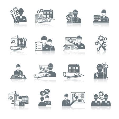Iconos Ingeniero equipo de construcción de producción y fabricación operador de la máquina conjunto negro aislados ilustración vectorial.