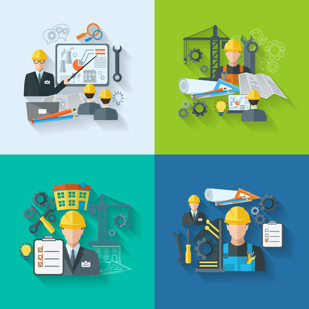Engineer construction manufacturing workers with gears drafts and tools flat icons set isolated vector illustration Illustration