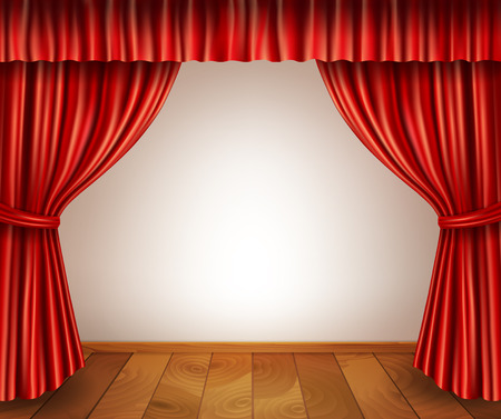 red stage curtain: Theater stage with wooden floor red velvet open retro style curtain isolated on white background vector illustration