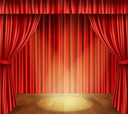 cortinas rojas: Teatro escenario con tel�n piso de madera de terciopelo rojo de estilo retro y foco de fondo ilustraci�n vectorial