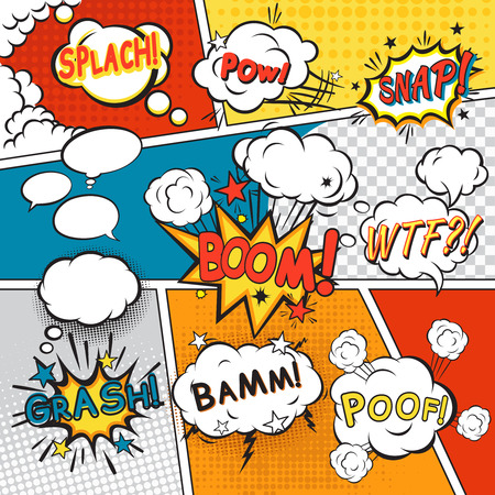 boom box: Comic speech bubbles in pop art style with splach powl snap boom poof text set vector illustration