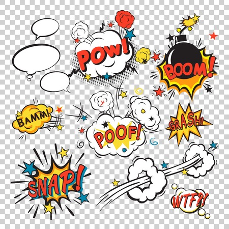 bomb: Comic speech bubbles in pop art style with bomb cartoon and explosion text vector illustration