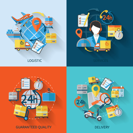 Logistieke pictogrammen platte set met geïsoleerde diensten gegarandeerde kwaliteit levering vector illustratie Stock Illustratie