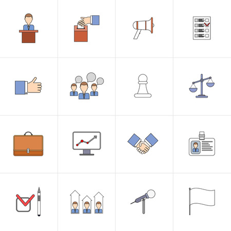 campaigning: Elections and voting flat line icons set with thumbs up strategy results isolated vector illustration