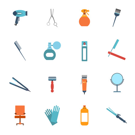 Hairdresser styling accessories professional haircut flat icon set with hair-dryer scissors spray brush isolated vector illustration