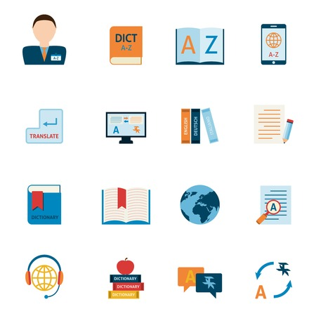 translator: Interlengual synchronic translator mobile electronic device dictionary support alphabet apps flat icons set abstract isolated vector illustration