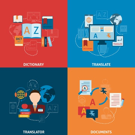 Translation and dictionary foreign language interpretation process elctronic mobile technology four flat icons composition abstract vector illustration
