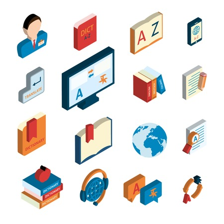 Online english german translation service website applications flat isometric icons set with interpreter headset isolated vector illustration Vector