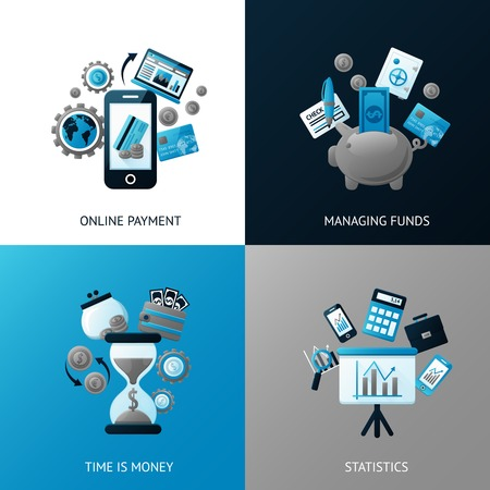 managing money: Bank flat banner set with online payment time is money statistics managing funds isolated vector illustration Illustration