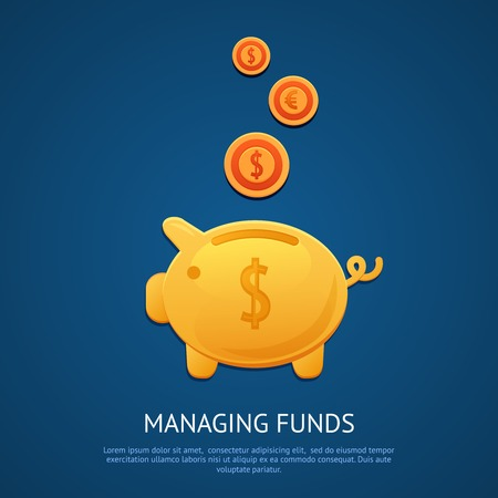managing money: Funny pink piggy bank money box with golden coins managing funds poster vector illustration.