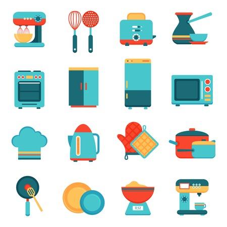 Keukenapparatuur pictogrammen die met geïsoleerd broodrooster mixer gerecht koekenpan vector illustratie