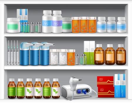 simbolo medicina: Estantes de la farmacia con botellas de píldoras de medicina líquidos y cápsulas ilustración vectorial realista