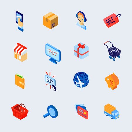 advertising signs: Online shopping customer support e-commerce isometric decorative icons set isolated vector illustration