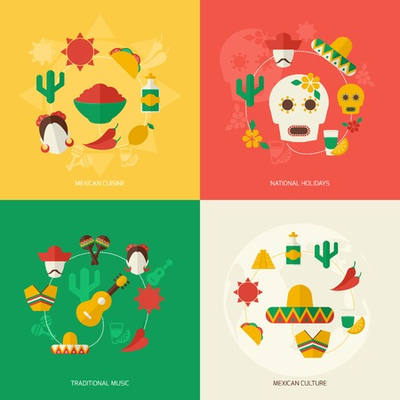 food and drink holiday: Mexico travel symbols flat icon set with mexican cuisine national holidays traditional music culture isolated vector illustration