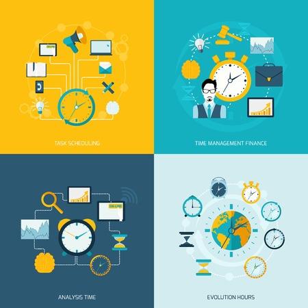 gestion del tiempo: Iconos planos de gestión de tiempo ajustado con el tiempo de programación de tareas horas de evolución el análisis financiero de gestión de ilustración vectorial aislado Vectores